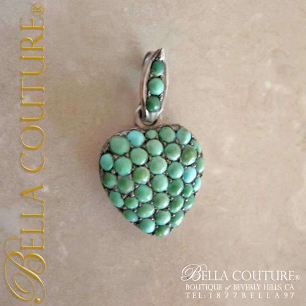 SOLD! - (ANTIQUE) Rare Georgian Victorian Sterling Silver Pave Turquoise Heart Locket  c.1790 - 1840! Charm Pendant