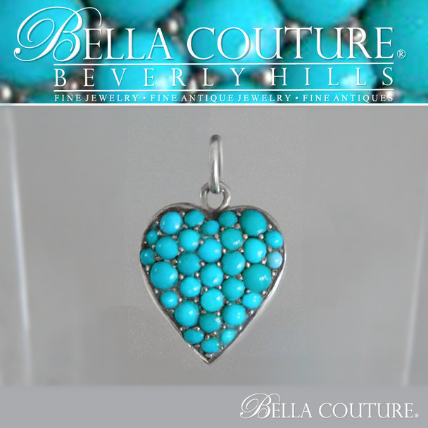 SOLD! - (ANTIQUE) Rare Georgian Victorian Sterling Silver Pave  Turquoise Heart, c.1790 - 1840! Charm Pendant