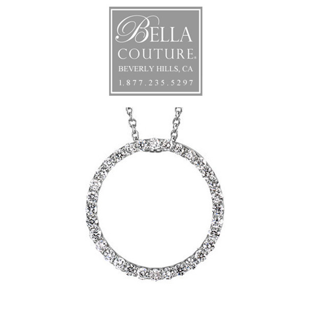 (NEW) Bella Couture Elegant 1/2CT .50CT Diamond Circle Platinum Pendant Necklace with Chain 18""