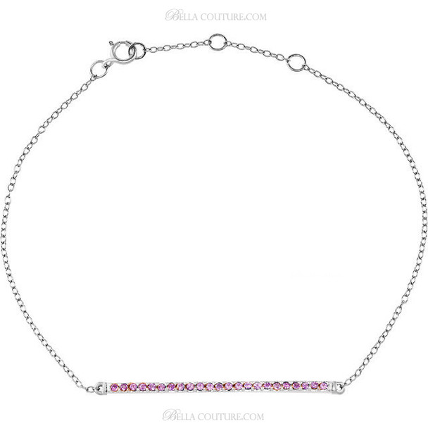 "(NEW) BELLA COUTURE ZOE Pave'Pink Sapphire 14K White Gold Bar Bracelet with Chain ~ Adjustable 8"", 7.5"", 7"""