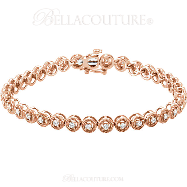"(NEW) BELLA COUTURE Gorgeous 1 CTW Diamond 14k Rose Gold Tennis Bracelet (7"" Inches)"
