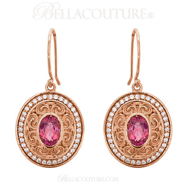 (NEW) Bella Couture Gorgeous Genuine Pink Tourmaline 1/3CT Diamond 14k Rose Gold Dangle Drop Earrings