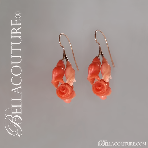 SOLD! - (ANTIQUE) Rare Georgian Victorian Antique 14K Carved Natural Red Coral Floral Flower Blossom Dangle Drop Day and Night Pendant Pierced Earrings