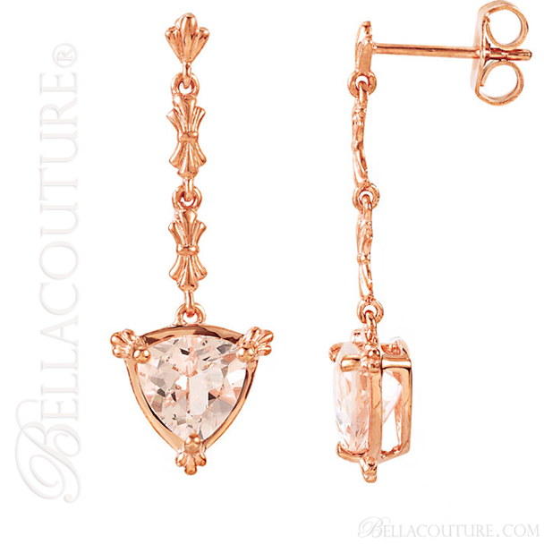 (NEW) BELLA COUTURE Fine Gorgeous Fleur~De~Lis Triliant Cut 2CT Pink Morganite 14K Rose Gold Post Earrings (7MM)