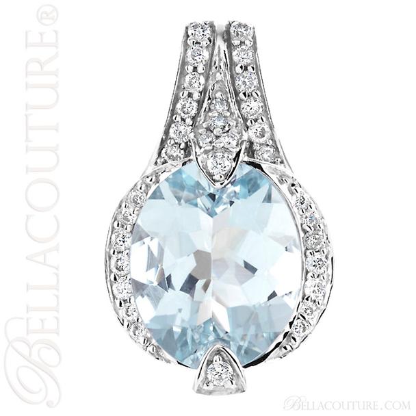 (NEW) BELLA COUTURE HAMPTON Collection Gorgeous Brilliant Aquamarine 1/5CT Diamond 14K White Gold Pendant (11x9mm)