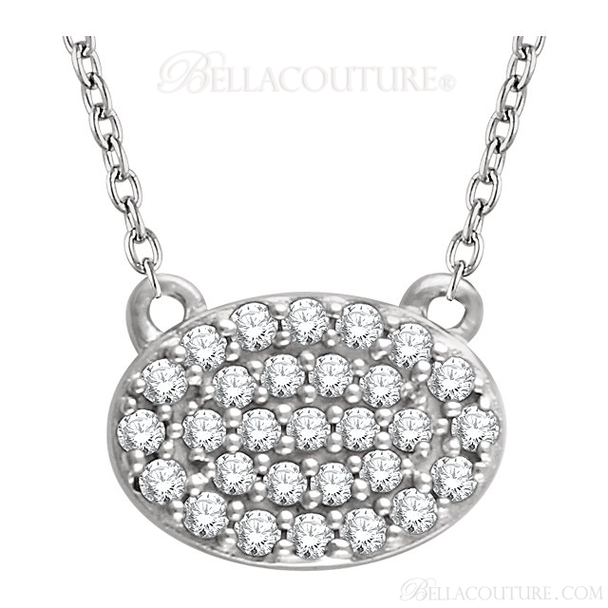 """(NEW) Bella Couture CARA Gorgeous Brilliant Round 1/5CT Diamond 14k White Gold Oval Pendant Necklace (18"""" Inches in Length)"""