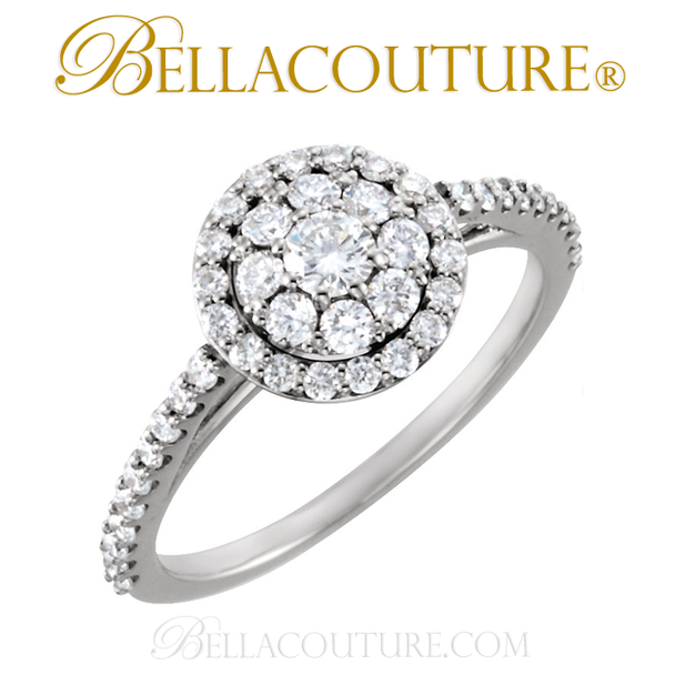 (NEW) BELLA COUTURE Gorgeous Brilliant 3/4CT Diamond 18K White Gold Ring