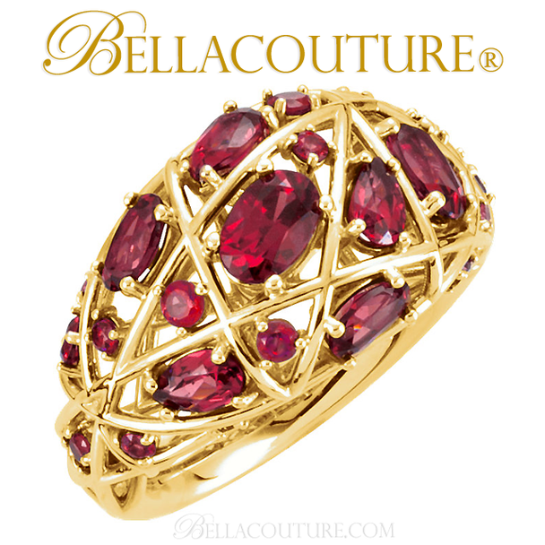 (NEW) Bella Couture Fine Gorgeous Brilliant Nested Rhodolite Garnet 14k Yellow Gold Ring