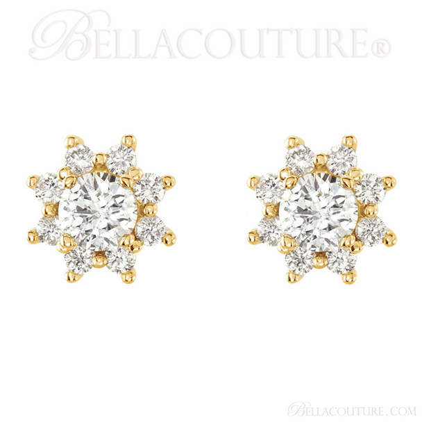 (NEW) BELLA COUTURE EXQUISITE FINE VICTORIA 2CT DIAMOND CLUSTER 14K YELLOW GOLD EARRINGS