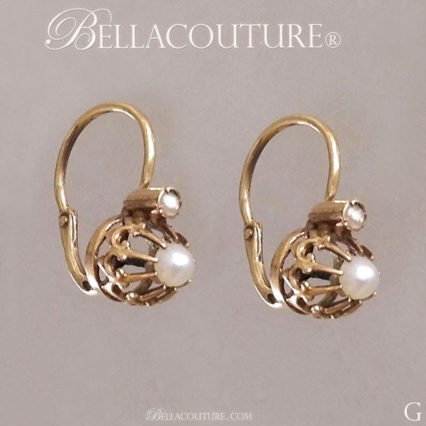 SOLD! - (ANTIQUE) Rare French Georgian Victorian 14K 14Ct Solid Yellow Gold White Seed Pearl Earrings