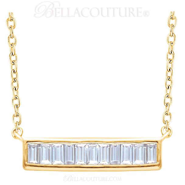 """(NEW) BELLA COUTURE Le FEMME Gorgeous Fine Baguette Diamond (1/4 CT) Vertical Bar 14K Yellow Gold Pendant Necklace (18"""" - 16"""" Adjustable Length)"""
