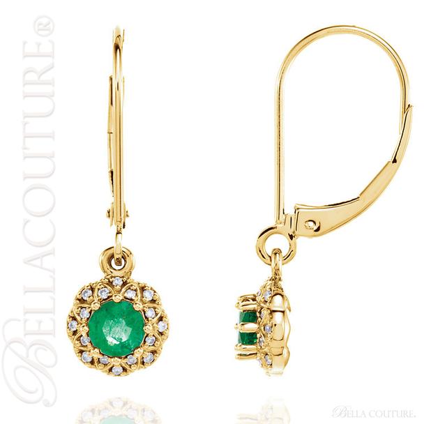 (NEW) BELLA COUTURE SORA HALO Fine Elegant Emerald Diamond 14k Yellow Gold Dangle Drop Lever Back Earrings