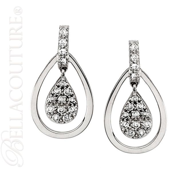 (NEW) BELLA COUTURE BRIA Gorgeous Fine 1/4 CT Diamond 14K White Gold Double Dangle Drop Post Earrings