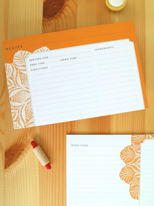 Lovely Doily recipe cards, double-sided and eco-friendly!