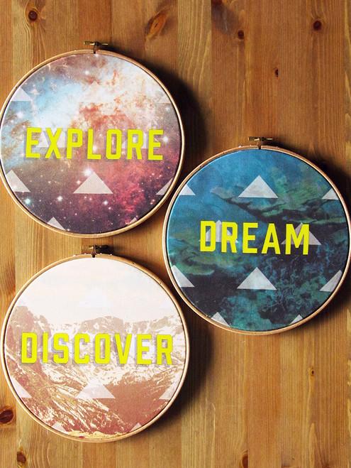 Explorer Set of 3 Hoop Art Prints