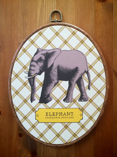 Fabric Elephant Art Print, ready to hang!
