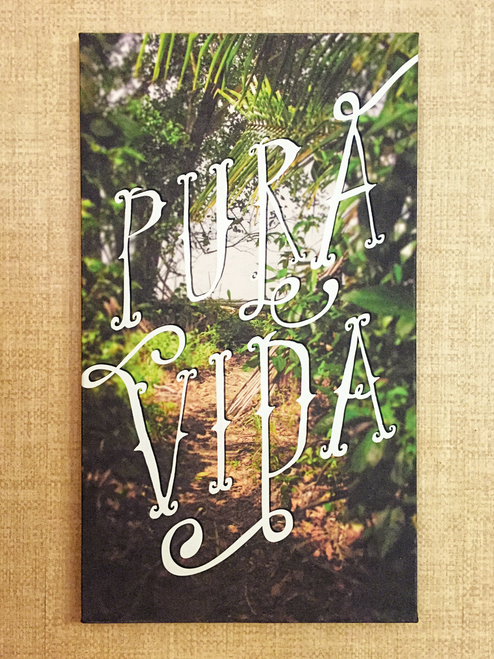 "Pura vida is a characteristic Costa Rican phrase. It literally means pure life, however, the real meaning is closer to ""plenty of life"", ""full of life"", ""this is living!"", ""going great"", or ""real living"". / Great canvas stretched art print!"