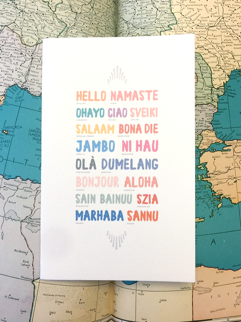 Say Hello anywhere you go! Over 17 beautiful languages are featured on this handmade, Eco-Friendly Sketchbook!