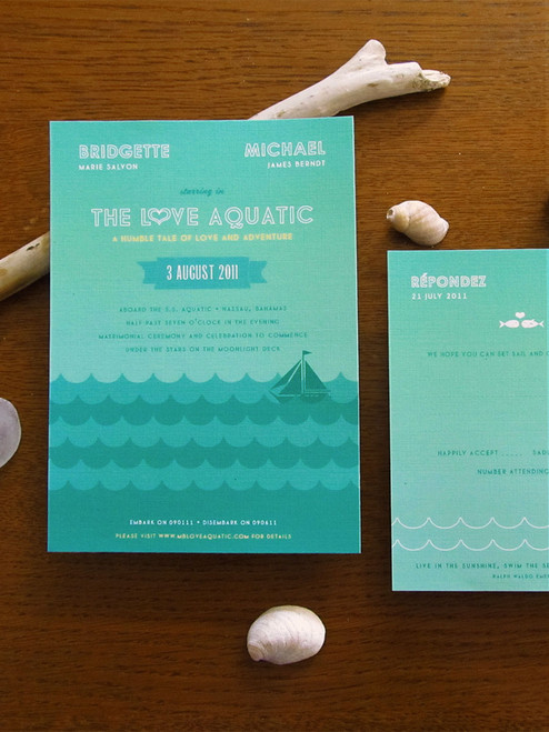 The Love Aquatic Invitation Ensemble. Such a fun ode to Wes Andersons The Life Aquatic film.