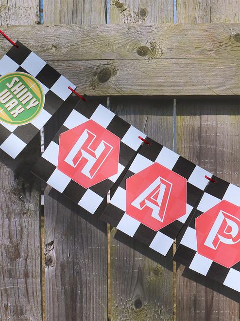 Checkered Flag Birthday Banner