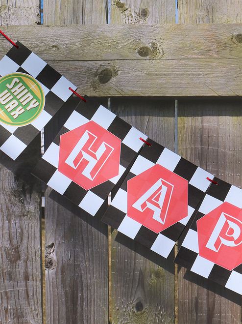 Checkered Flag Birthday Banner