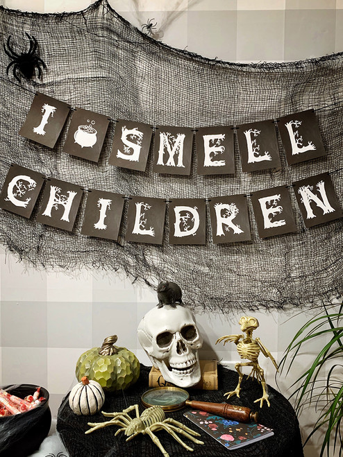 "Halloween decor for your Haunted House!  I Smell Children banner by Earmark is ready to set the scene. ""It's all just a bunch of Hocus Pocus..."""