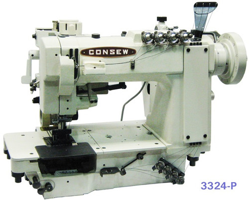 Consew 3322-P Double Needle chain-stitch with puller (Setup with table, motor & stand)