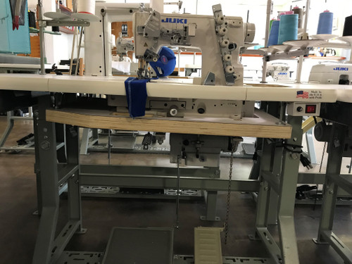 Juki MF-7522 C11B40 Two Needle, top & bottom flatbed coverstitch machine for Collarettes (Setup with table, motor and stand)