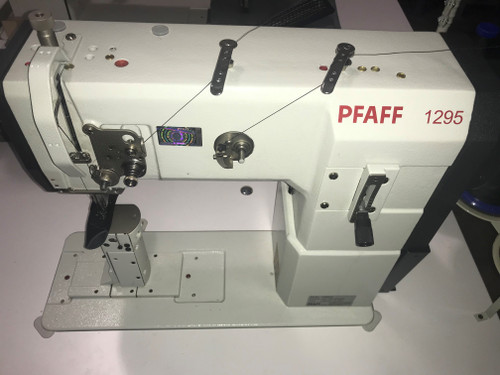 (Demo) Pfaff 1295 Single Needle, Unison feed, Walking foot, Post-Bed machine (Setup on table, with Mini Servo motor & Stand)