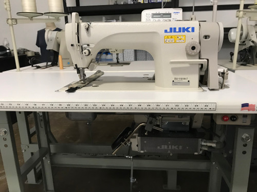 Juki DU-1181N7/X73096 Single needle, top and Bottom-feed, Lockstitch Machine with under trimmer (Setup with table and stand)