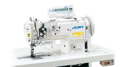 Juki LU-1560N-7 Double Needle, Unison Feed, Walking foot with Under-trimmer and air foot lift (Setup with table, motor & stand)