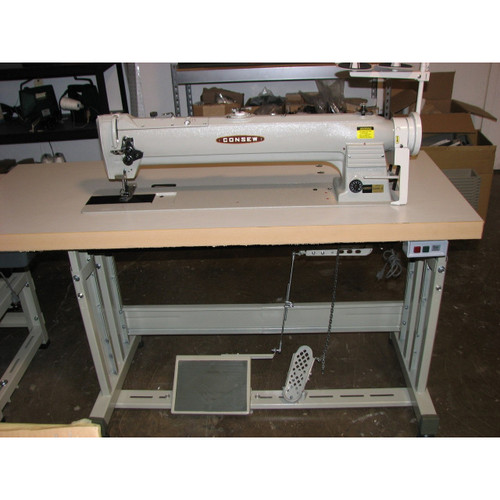 "Consew 255RBL-25 Single Needle, Unison Feed,  Walking Foot,  25"" long arm Machine (Setup with Table, Motor & Stand)"