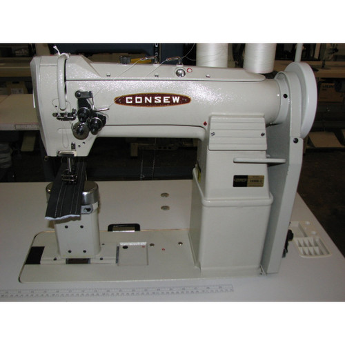 Consew 389RB-2 Double Needle, Post Bed, Unison Feed, Walking Foot Machine (Setup with Table, Motor, & Stand)