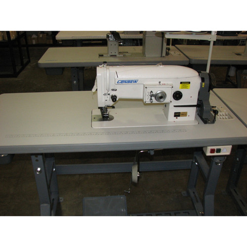Consew 146RB-1A-1 Single Needle Zig Zag, Unison Feed, Walking foot machine (Setup with table, motor & stand)