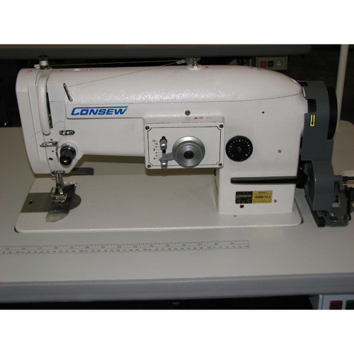 "Consew 199RB-1A-1 Single Needle Drop feed lockstitch Zig Zag, Sewing machine with ""M"" bobbin (Setup complete with table, motor & stand)"