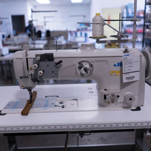 Juki LU-2810S Single Needle, Unison feed (Walking foot) Setup with table, motor & stand