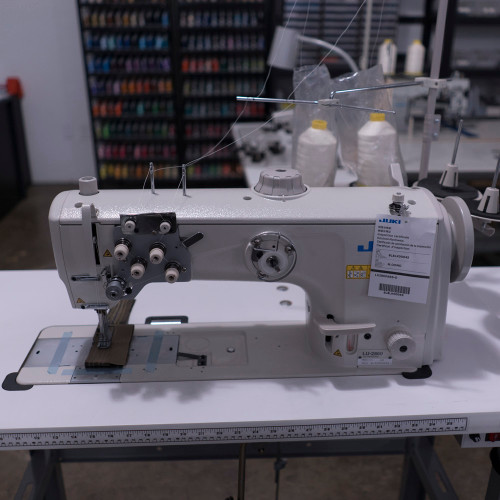 Juki LU-2860 Double Needle, Unison Feed,  Walking foot (Setup with table, motor & stand)