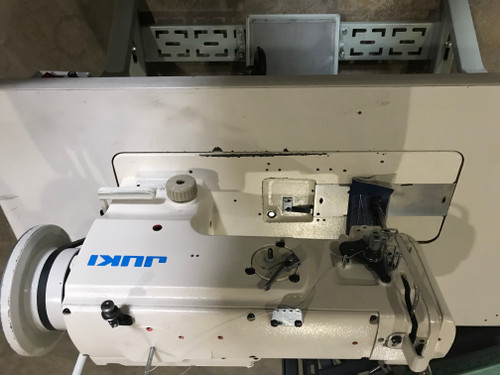 Used Juki LU-1508N Single Needle walking-foot (Setup with Table, Motor & Stand)