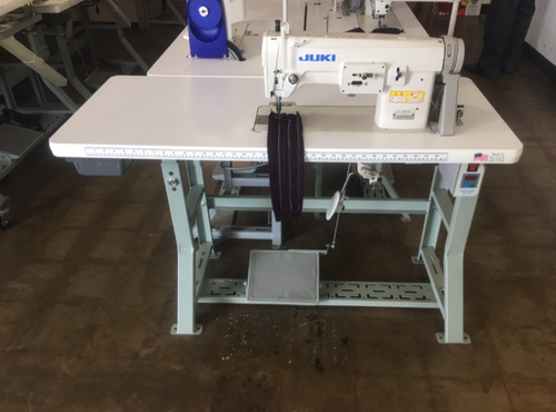 Juki LZ-391N, 1-needle, Lockstitch, Zigzag Stitching Machine/Free-hand Embroidering Sewing Machine (setup on table, motor & stand)