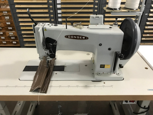 Consew 744R-10  Single Needle, Heavy Thread Upholstery, Unison Feed, Walking foot machine (setup with table, motor & stand)