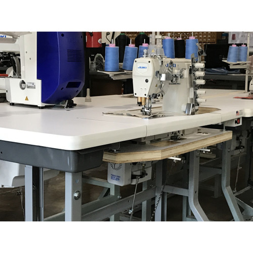 Juki MF-7523 U11-B64 Flatbed Coverstitch 5 thread, 3 needle bottom feed (Setup with Table, motor & Stand)