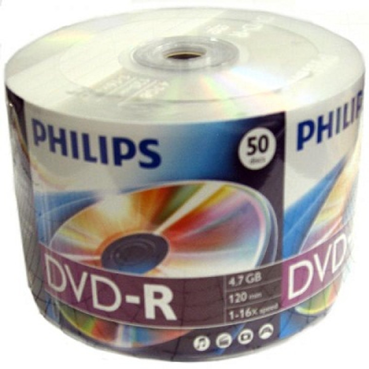 graphic about Printable Dvd Rs called Philips Spindle of 50 DVD-Rs - 16x - Printable