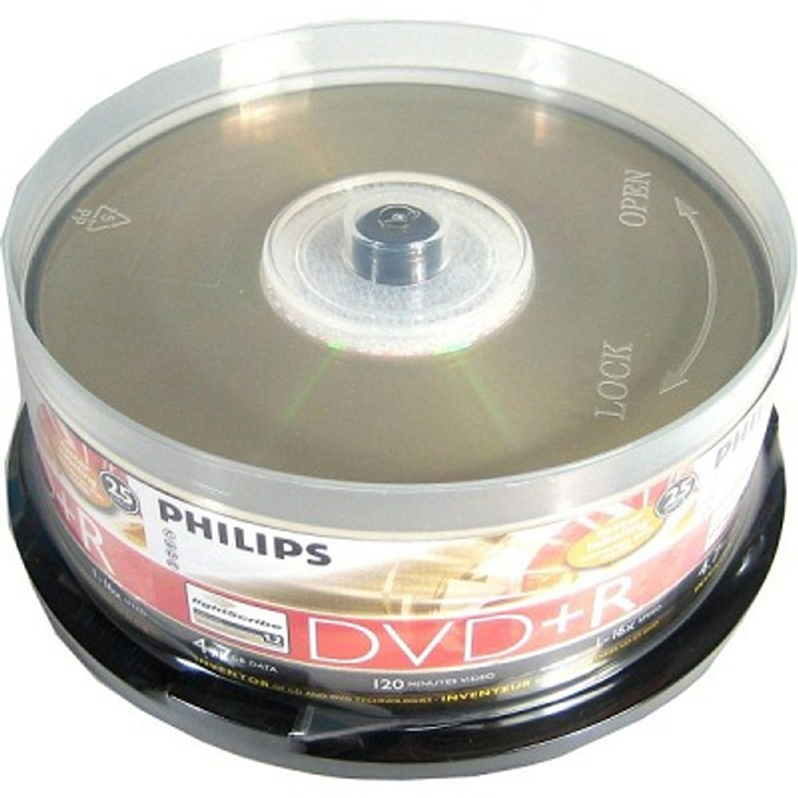 graphic regarding Printable Dvds named Philips Spindle of 25 Blank Printable DVDs - 16X - Lightscribe