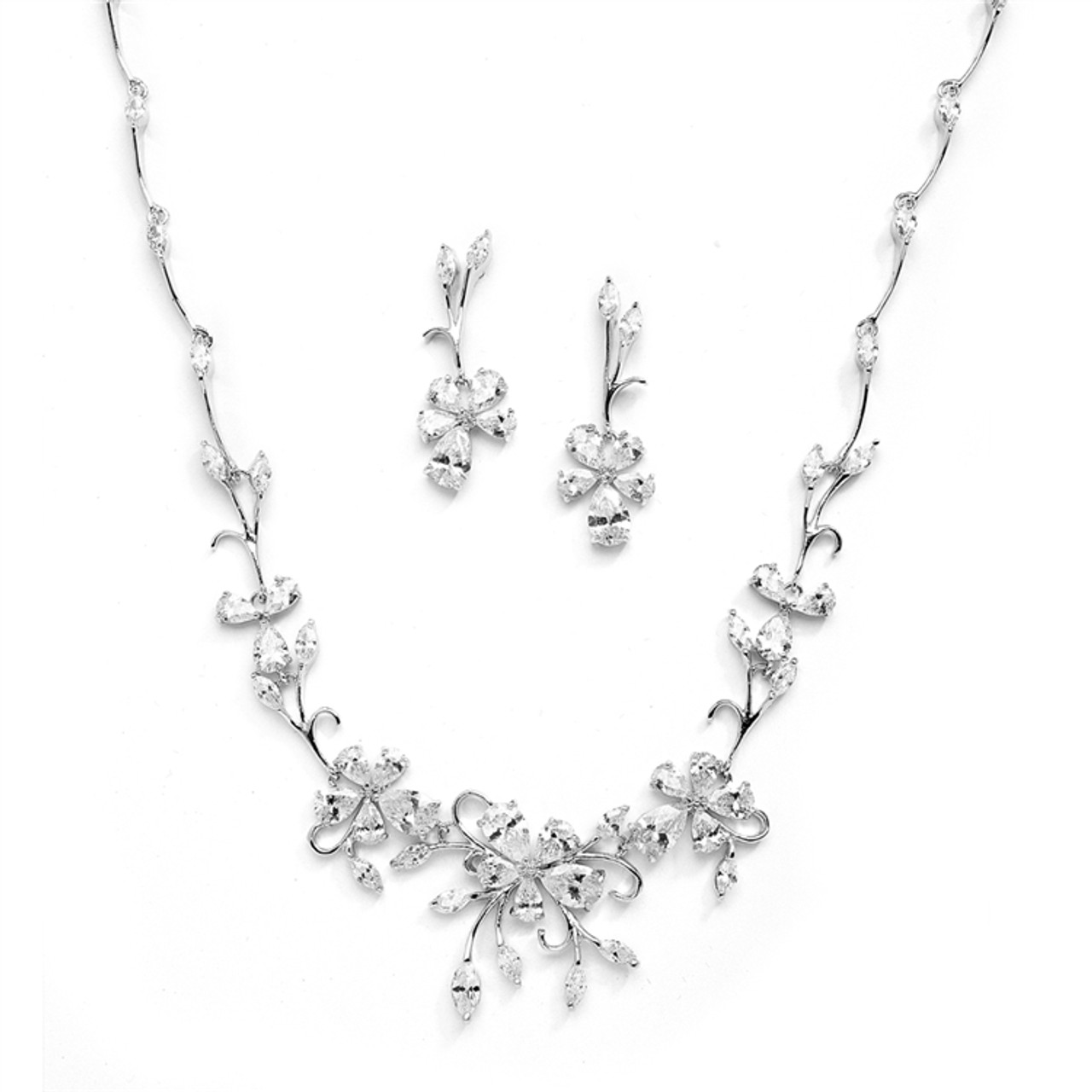Mariell Bridals Elegant Vine CZ Necklace and Earrings Set 4233S-S