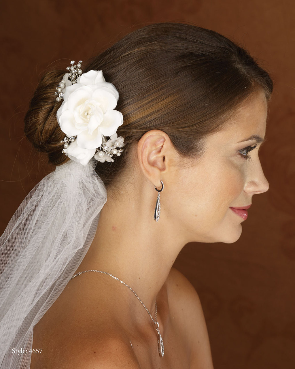 Marionat Bridal 4657 Flower clip with Pearl and Rhinestone Sprays- Le crystal