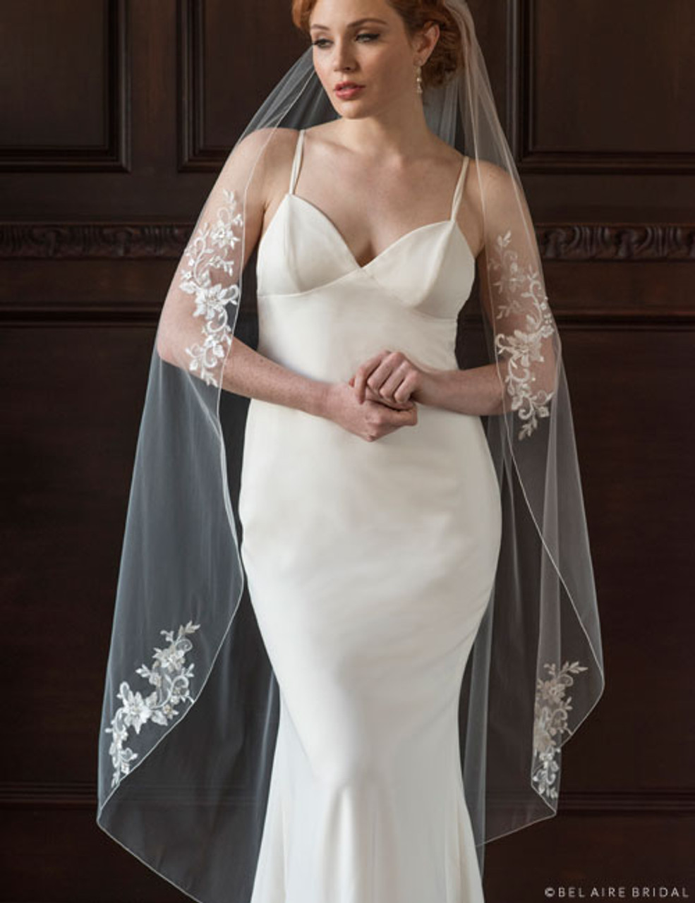 Bel Aire Bridal Veils V7365 -1-tier waltz length veil with Schiffli lace appliqués
