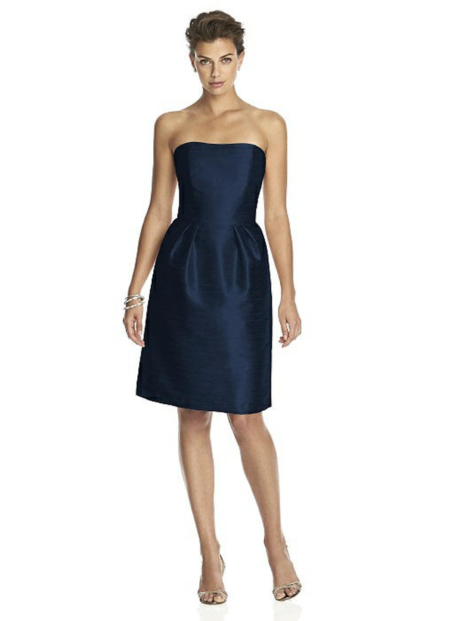 Alfred Sung Dress Style D614 - Midnight - Dupioni - In Stock Dress