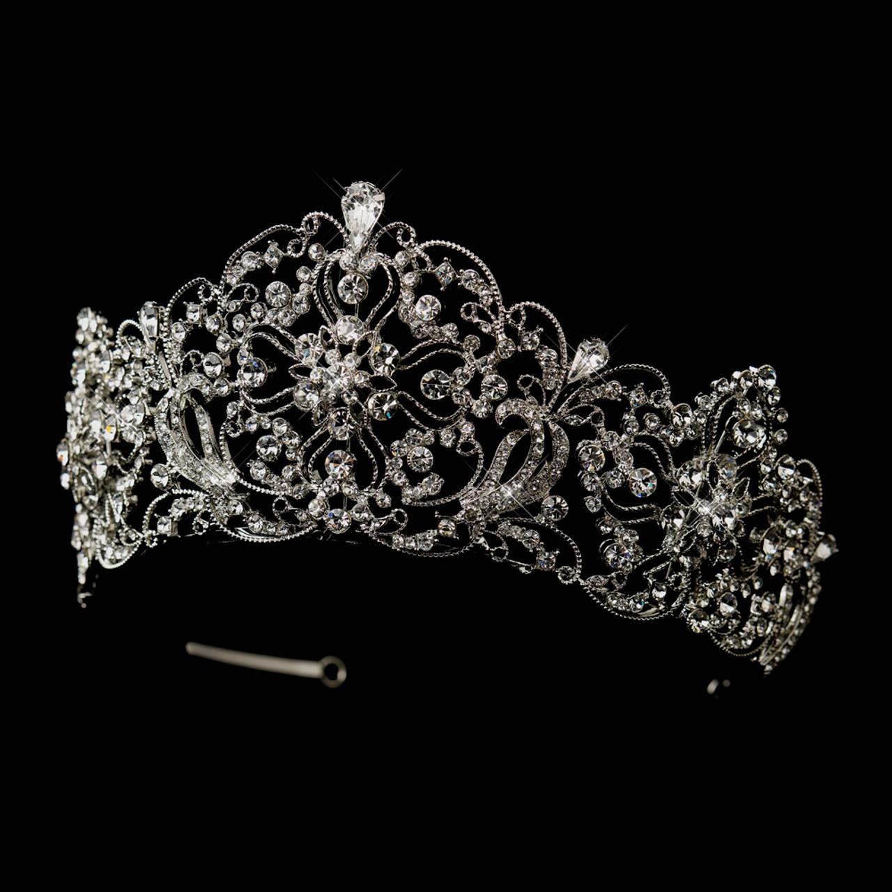 CAROLEE\u00a9 Crystal Clear Baguettes Silver Rhodium Plate Bracelet  Wedding Bride Bridesmaid
