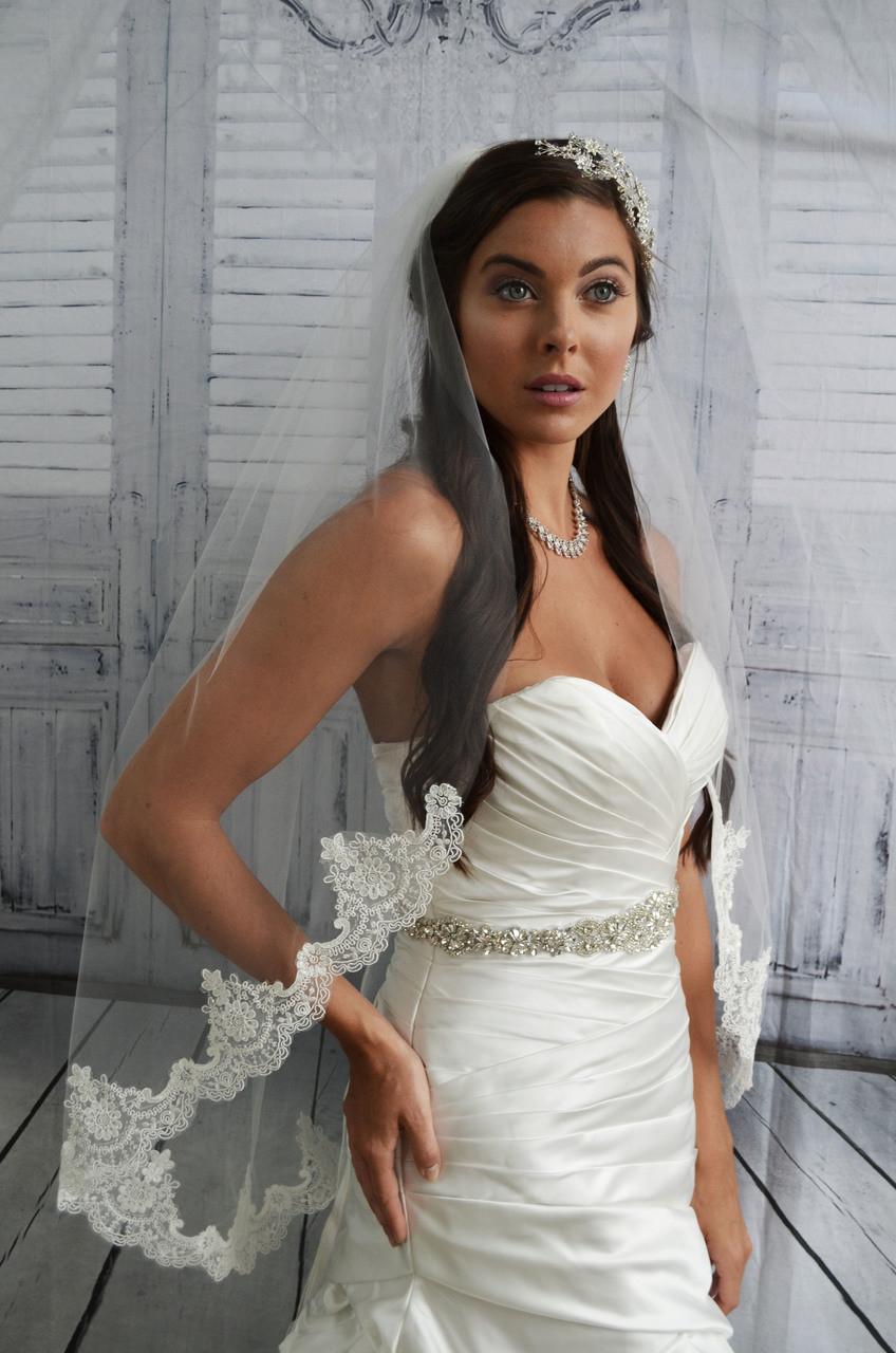 "Ansonia Bridal Veil Style 743L - 90"" Inches Long Lace Edge Veil"