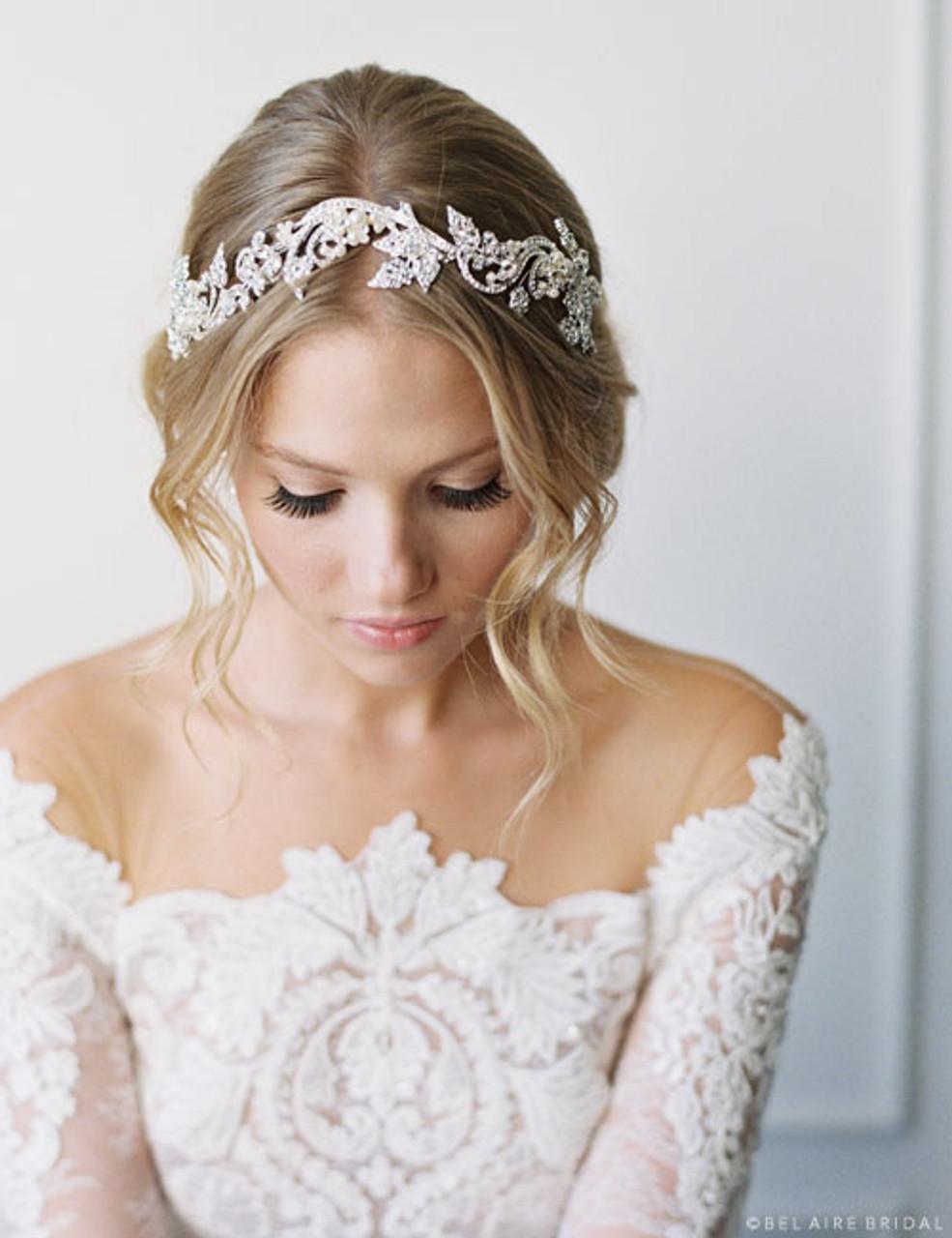 Weddings Brushed Silver Swirl Hairpiece Rhinestone Bridal Hairpiece Rhinestone Hair Accessories